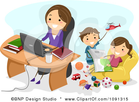 1091315-Clipart-Happy-Mom-Working-At-Home-As-Her-Kids-Play-Behind-Her-Royalty-Free-Vector-Illustration